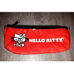 Hello Kitty Nerd with Glasses Red Zipper Pouch